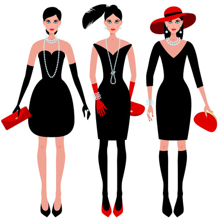 couturier: A set of cute fashionable girls on the evening of luxury glamor clothes. The stylish little black dress, hat, feather, clutch bag, pearls. Vector illustration of people isolated on white background. Illustration