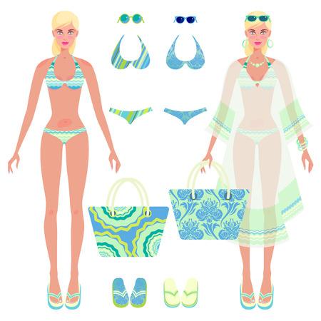甘い女の子とビーチウェアとアクセサリーのセット。夏服をテーマに別の画像を作成する設定デザイナーのベクトル図です。