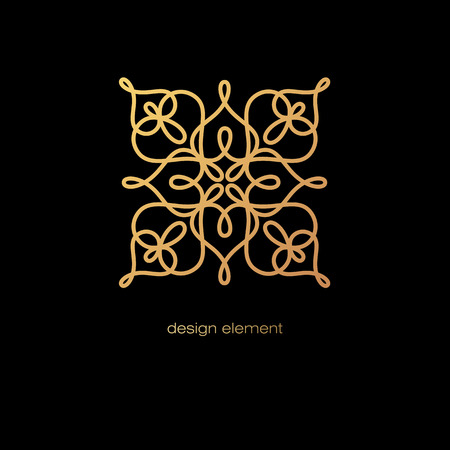 linearity: Vector design element. Template for creating , icon, symbol, emblem, monogram frame. Linear trend style. Illustration gold pattern on black background. Concept of  unusual abstract luxury decor.