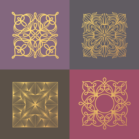 linearity: Set of vector abstract ornamental symbols, icons, logos, patterns to create luxury packaging, unusual logo, corporate identity design. Concept of printing with gold foil. Illustration in modern style