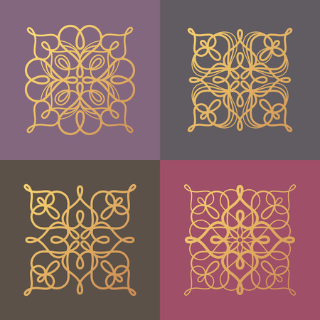 linearity: Set of vector abstract ornamental symbols, icons, , patterns to create luxury packaging, unusual , corporate identity design. Concept of printing with gold foil. Illustration in modern style Illustration