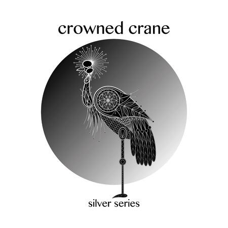 crowned: Bird Crowned Crane. Vector illustration.