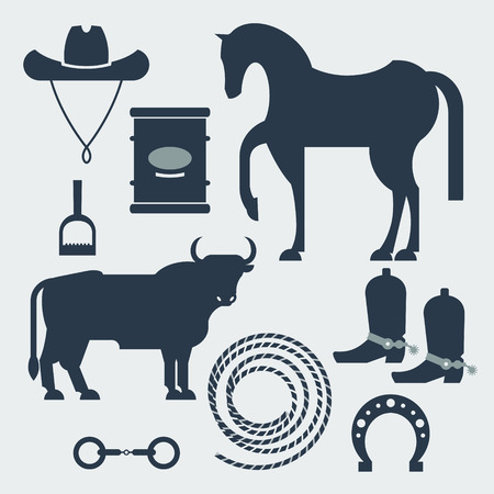 used items: Set of images - items used for entertainment shows, sport - rodeo. Vector illustration isolated objects on a white background.