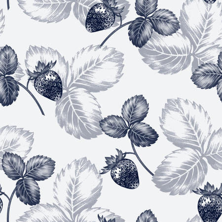 blossoming: Vector seamless background. Bush blossoming strawberry with berries. Design for fabrics, textiles, paper, wallpaper, Internet. Vintage. Floral ornament.