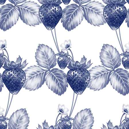 blossoming: Vector seamless background. Bush blossoming strawberry with berries. Design for fabrics, textiles, paper, wallpaper, Internet. Vintage. Floral ornament. Black and white. Illustration