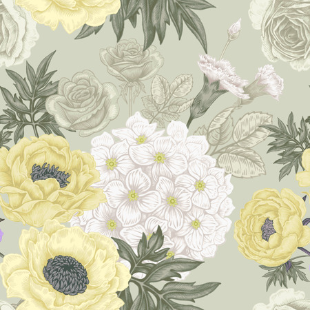 garden flowers: Seamless pattern. Illustration of garden flowers of roses, peonies, hydrangeas, carnations. Floral design in Victorian style to create fabrics, textiles, wallpaper, paper. Vintage. Vector.
