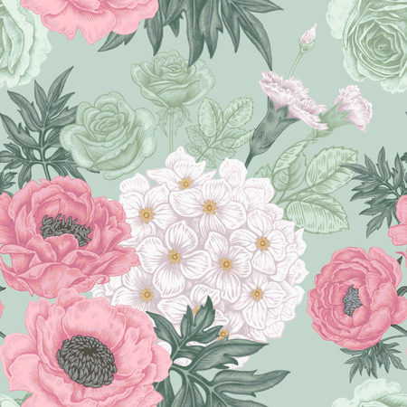 peony: Seamless pattern. Illustration of garden flowers of roses, peonies, hydrangeas, carnations. Floral design in Victorian style to create fabrics, textiles, wallpaper, paper. Vintage. Vector.