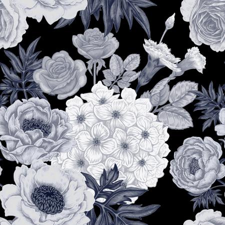 원활한 패턴입니다. 장미, 모란, 수 국, 카네이션의 정원 꽃의 그림. 빅토리아 스타일의 플로랄 디자인입니다. 포도 수확. 벡터. 검정색과 흰색. 일러스트