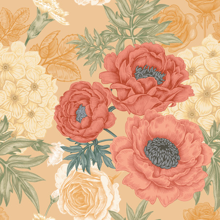 Seamless pattern. Illustration of garden flowers of roses, peonies, hydrangeas, carnations. Floral design in Victorian style to create fabrics, textiles, wallpaper, paper. Vintage. Vector.