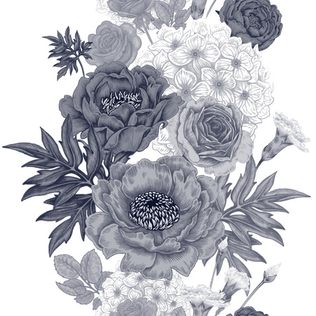 Seamless pattern. Illustration of garden flowers of roses, peonies, hydrangeas, carnations. Floral design in Victorian style. Vintage. Vector. Black and white.