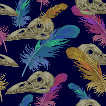 cranial skeleton: Seamless vector pattern with skulls and crow feathers. Decorative composition on the theme of death.