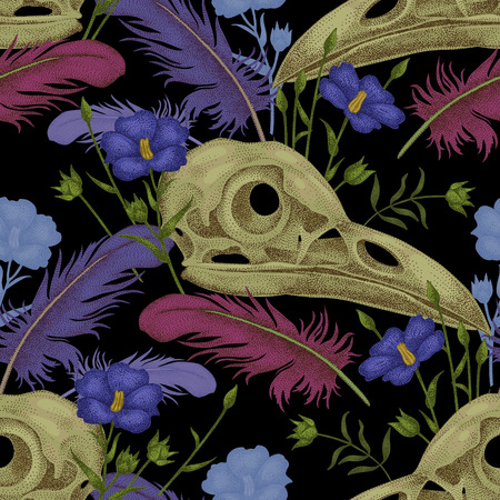cranial: Seamless pattern with skulls, feathers and flowers. Decorative composition on the theme of death on a black background.