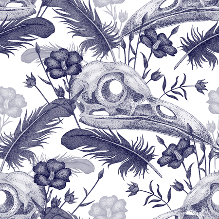 cranial skeleton: Seamless pattern with skulls, feathers and flowers. Decorative composition on the theme of death in white and black.