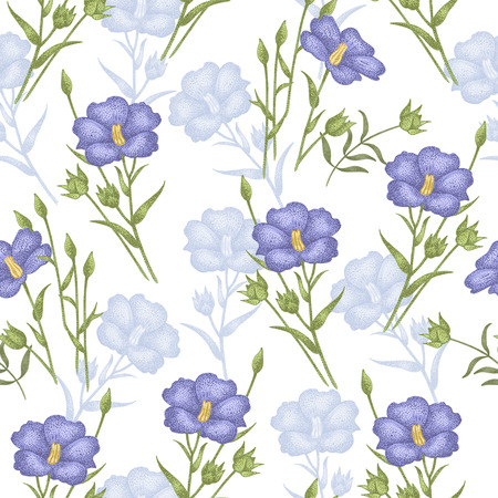 flax: Vintage vector pattern with flowers linen on a white background. Graphic handmade textiles, fabrics, paper, curtains, curtains, wallpaper, vintage style. Illustration