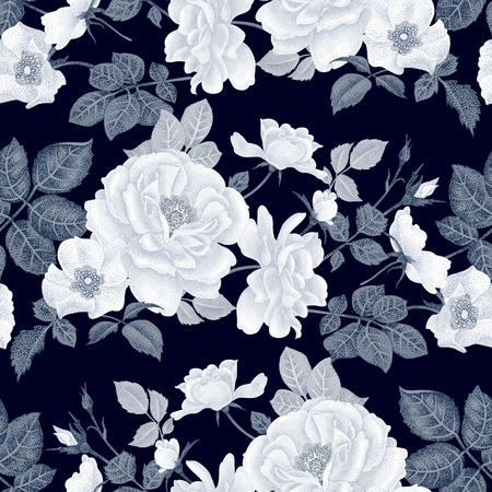 피 장미 빈티지 꽃 원활한 배경입니다. 벡터 패턴입니다. 인테리어 디자인, 아트 워크, 식기, 의류, 포장, 인사말 카드, 상점 창문에 사용되는 흑백 그림.
