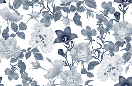 delightful: Vintage floral seamless background with blooming roses and garden flowers. Vector pattern. Black and white Illustration for use in interior design, artwork, dishes, clothing, packaging, store windows. Illustration