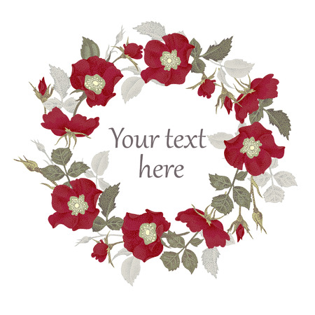 text space: Vector illustration isolated on white background frame of flowers. The original design for printing on paper and clothes, creating greeting cards, congratulations and invitations with space for text. Illustration