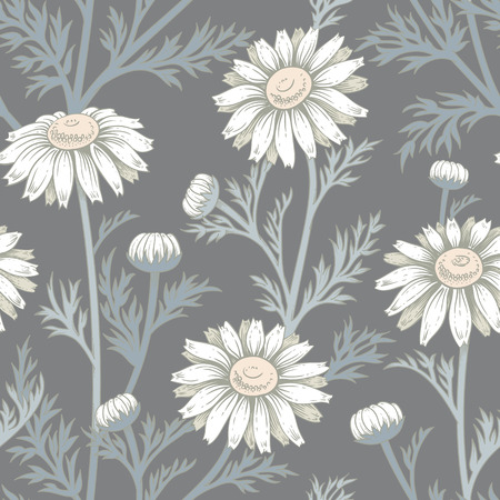 Seamless vector pattern. Illustration of chamomile flowers. Designs for textiles, upholstery fabric, interior, curtains, paper, packaging, wallpaper. Floral ornament.
