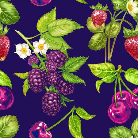 blackberries: Vector seamless background. Composition with fruit and berries. Strawberries, cherries, blackberries, apple. Design for fabrics, textiles, paper, wallpaper, Internet. Vintage. Illustration