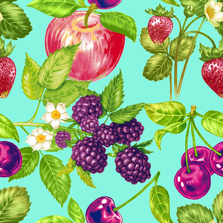 ch: Vector seamless background. Composition with fruit and berries. Strawberries, cherries, blackberries, apple. Design for fabrics, textiles, paper, wallpaper, Internet. Vintage.Vector seamless background. Composition with fruit and berries. Strawberries, ch