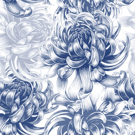 Vector seamless background. Chrysanthemum flowers. Design for fabrics, textiles, paper, wallpaper, Internet. Vintage. Floral ornament. Black and white.  イラスト・ベクター素材