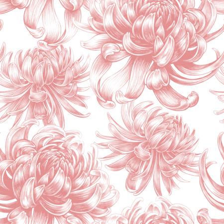 Vector seamless background. Chrysanthemum flowers. Design for fabrics, textiles, paper, wallpaper, Internet. Vintage. Floral ornament. Ilustrace