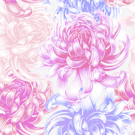 Vector seamless background. Chrysanthemum flowers. Design for fabrics, textiles, paper, wallpaper, Internet. Vintage. Floral ornament.