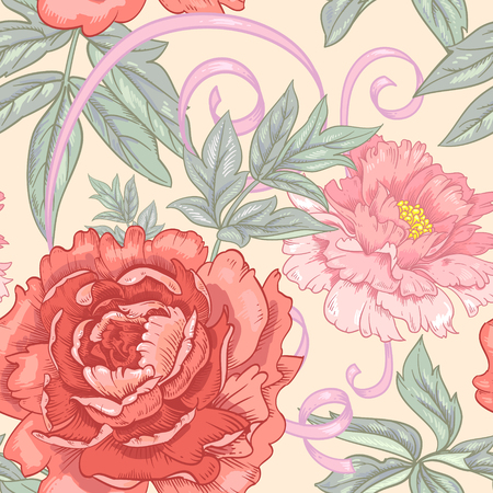 victorian style: Vector background with the image of garden flowers peony, roses, ornamental grasses, berries. Seamless pattern. Victorian style. Vintage. Illustration