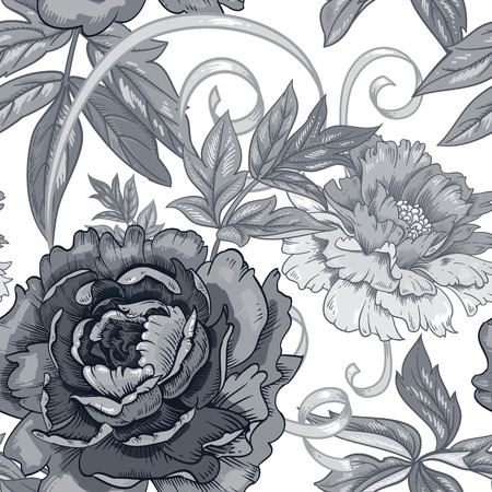 grasses: Vector background with the image of garden flowers peony, roses, ornamental grasses and berries. Seamless pattern. Victorian style. Vintage. Black and white.