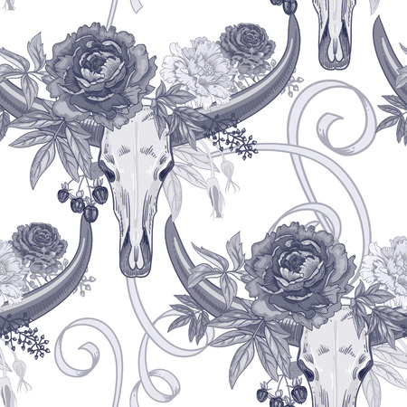 victorian style: Vector background with the image of garden flowers peony, roses, ornamental grasses, berries, ribbons, buffalo skulls. Seamless pattern. Victorian style. Vintage. Black and white.