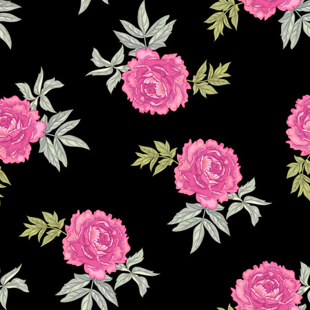 victorian style: Vector background with the image of garden flowers peony. Seamless pattern. Victorian style. Vintage.
