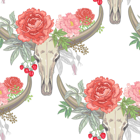 grasses: Vector background with the image of garden flowers peony, roses, ornamental grasses, berries, ribbons, buffalo skulls. Seamless pattern. Victorian style. Vintage.