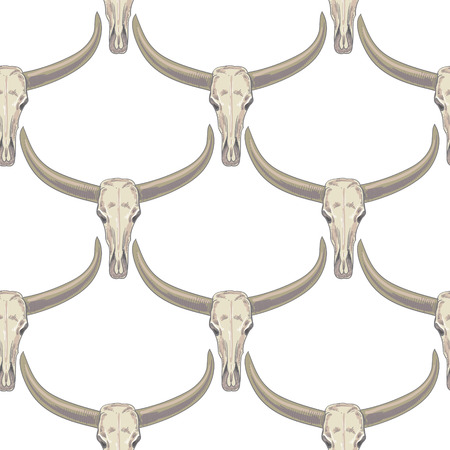 Vector background with the image of buffalo skulls. Seamless pattern. Black and white.