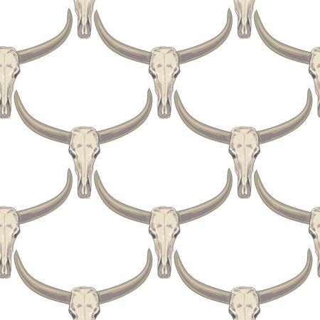 Vectorachtergrond met de afbeelding van buffelschedels. Naadloos patroon. Zwart en wit.