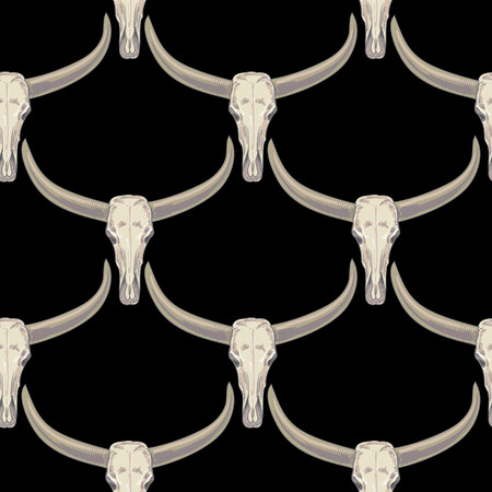 brute: Vector background with the image of buffalo skulls. Seamless pattern. Black and white.