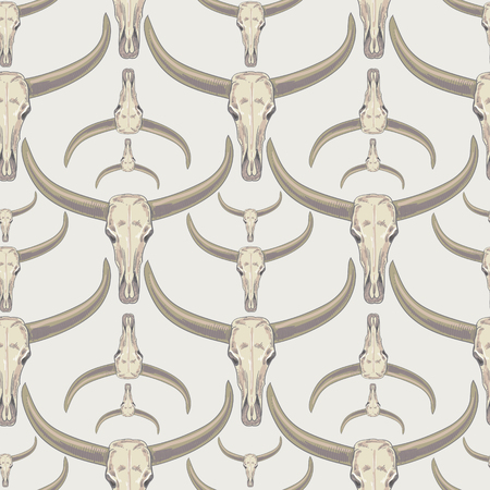 brute: Vector background with the image of buffalo skulls. Seamless pattern. Illustration