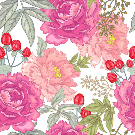 Vector background with the image of garden flowers peony, roses, ornamental grasses, berries. Seamless pattern. Victorian style. Vintage. Stock Illustratie