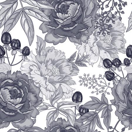 Vector Hintergrund mit dem Bild der Gartenblumen Pfingstrose, Rosen, Ziergräser, Beeren. Nahtlose Muster. Viktorianischen Stil. Jahrgang. Schwarz und weiß.