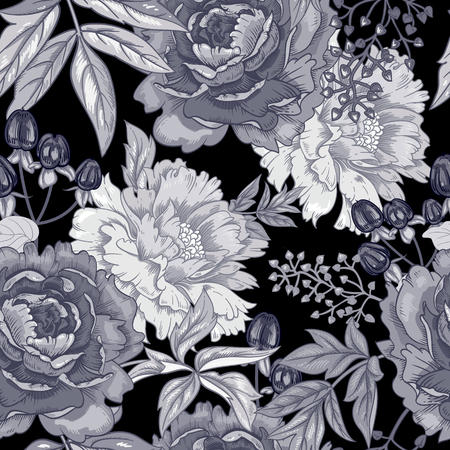 Vector background with the image of garden flowers peony, roses, ornamental grasses, berries. Seamless pattern. Victorian style. Vintage. Black and white.