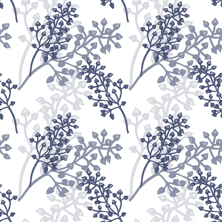 Vector background with the image of ornamental grasses. Seamless pattern. Victorian style. Vintage. Designs for textiles, fabrics, interior design, curtains, paper, wallpaper. Black and white. Reklamní fotografie - 55324378