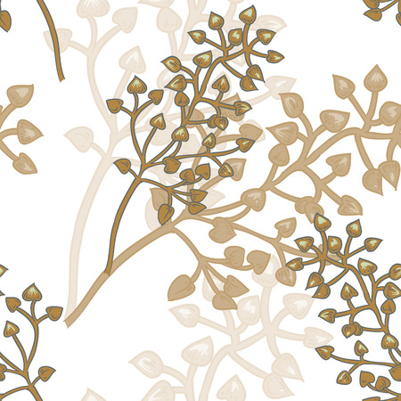 grasses: Vector background with the image of ornamental grasses. Seamless pattern. Victorian style. Vintage. Designs for textiles, fabrics, interior design, curtains, upholstery fabrics, paper, wallpaper. Illustration