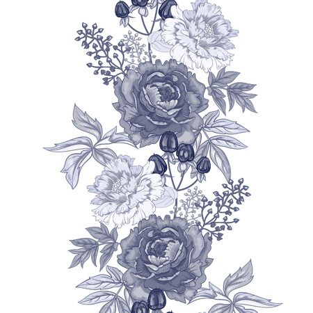 grasses: Vector background with the image of garden flowers peony, roses, ornamental grasses, berries. Seamless pattern. Victorian style. Vintage. Black and white. Illustration