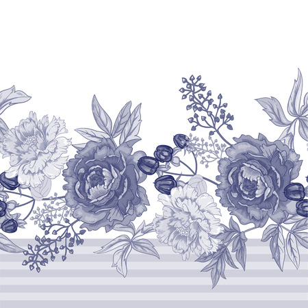 Vector background with the image of garden flowers peony, roses, ornamental grasses, berries. Seamless pattern. Victorian style. Vintage. Black and white. Reklamní fotografie - 55324382