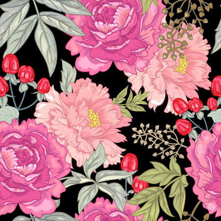 ornamental garden: Vector background with the image of garden flowers peony, roses, ornamental grasses, berries. Seamless pattern. Victorian style. Vintage. Illustration
