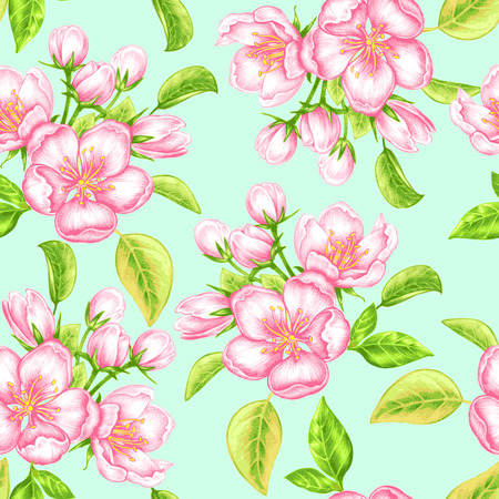 blossoming: Vector seamless background. The branch of blossoming apple tree. Design for fabrics, textiles, paper, wallpaper, Internet. Vintage. Floral ornament.