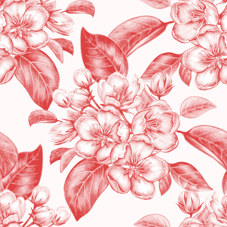 Vector seamless background. The branch of blossoming apple tree. Design for fabrics, textiles, paper, wallpaper, Internet. Vintage. Floral ornament.