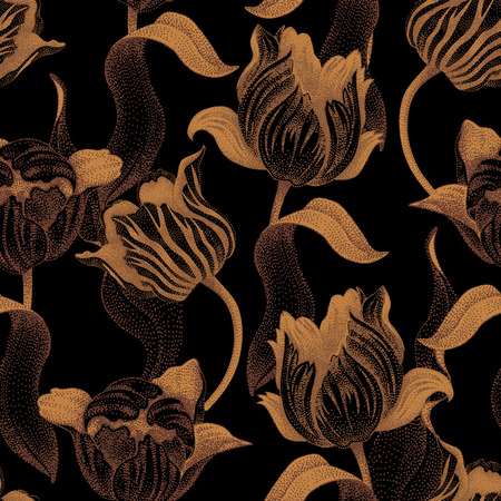 floret: Spring flower tulip. Vector seamless floral pattern. Garden bulbous tulip flower. Illustration - template luxury packaging design, textiles, paper. Gold branches, leaves, flowers on black background.