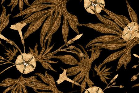 エキゾチックな登山の植物のツタ。ベクターのシームレス花柄。黄金の枝、葉、黒い背景に花します。ビンテージ スタイルのイラスト テンプレート