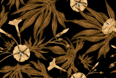 Exotic climbing plant ivy. Vector seamless floral pattern. Golden branch, leaves, flowers on black background. Illustration in vintage style - template design luxury packaging, textile, paper. Çizim