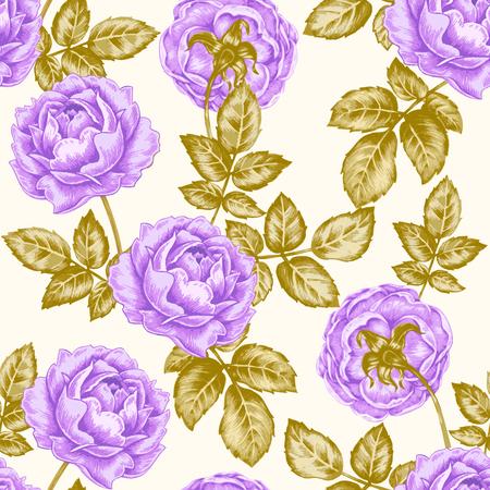 convolvulus: Vector seamless background. Design for fabrics, textiles, paper, wallpaper, web. Rose. Retro. Vintage style. Illustration